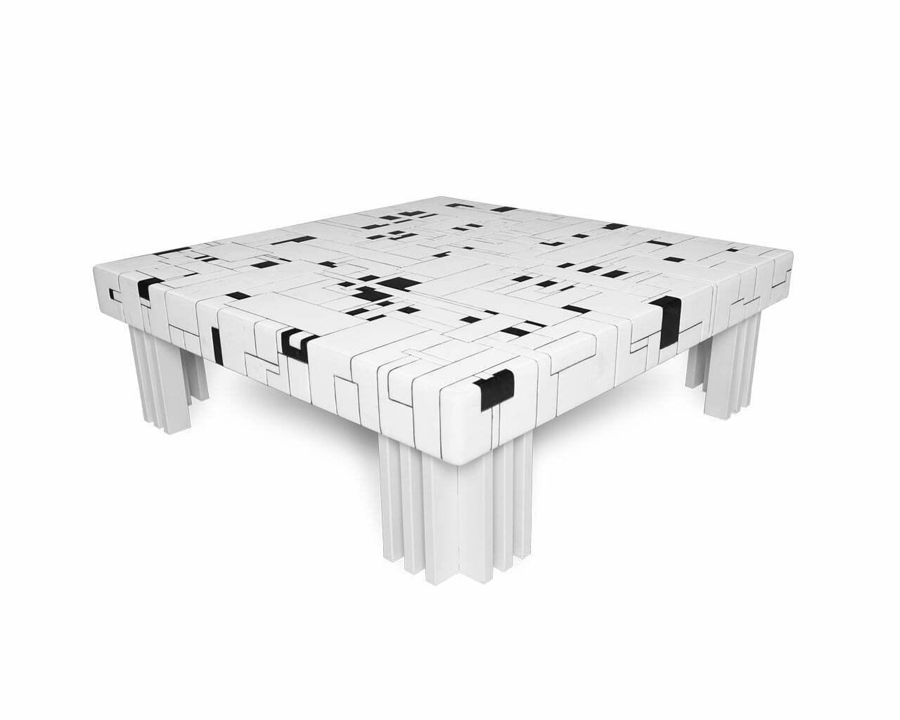 Mesa em mosaico de mármore White & Black